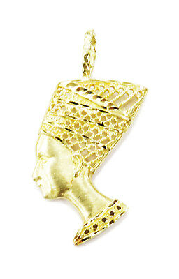 14K Yellow Gold Egyptian Queen Nefertiti Charm Pendant Necklace ~ 4.3g