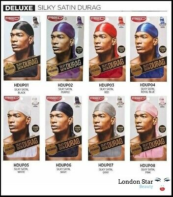 RED BY KISS PREMIUM SILKY SATIN DURAG QUALITY /HDUP EXTRA LONG TAILS Du-RAG