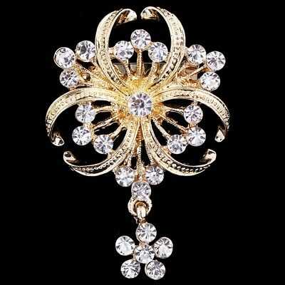 Fashion Crystal Rhinestone Gold Flower Bouquet Brooch Pin Wedding Bridal Gift