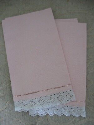 2 vintage HAND TOWELS pink huckabuck with bobbin lace trim