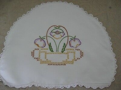 vintage PANSY FLOWER embroidered TEA COSY white cotton & lace