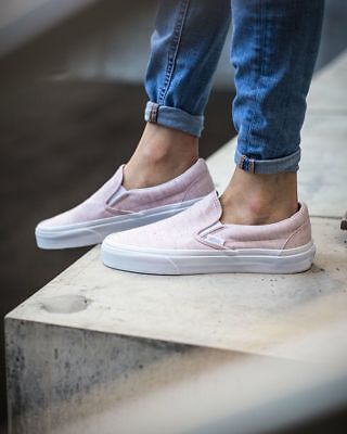 38f851a7c9 Vans Classic Slip-On Shoe Speckle Jersey Pink Skate Shoes Women s Size 8  75