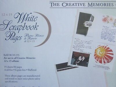 15 CREATIVE MEMORIES 12 x 15 WHITE SCRAPBOOK Refill PAGES new in PACK
