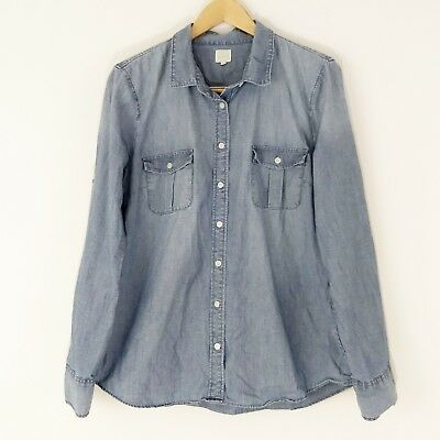 8a11e045 J Crew Factory L Classic Chambray Shirt Perfect Fit Button Down Tab Sleeve  Women