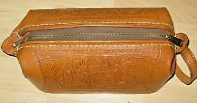 Amazing Quality, Hand-Tooled Leather DOPP Toiletry Travel Kit.   Made in Mexico!