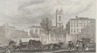 1846 Six Antique Prints - London Churches - St. Martins in the Fields & Holborn