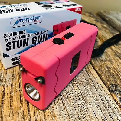 MONSTER PINK 25 Million Volt Stun Gun Rechargeable LED light Self Defense