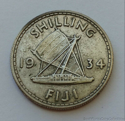 1934 Fiji One Shilling .500 Silver Coin