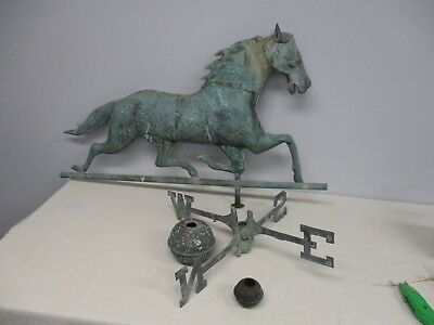 "Large Vintage Copper Trotting Horse Weathervane ~ 33"" Wide"