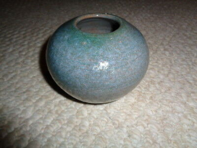 Studio art pottery round flower bud vase green gray glazed thick mold mid modern