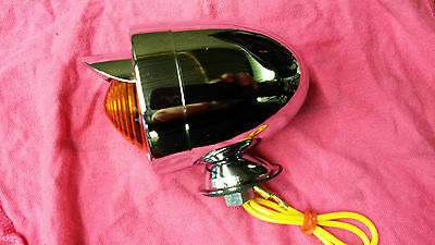 Lambretta and Vespa Chromed Bullet Light With Peak Amber Orange Lens...NEW