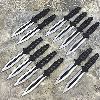 12 PC NINJA THROWING KNIVES SET w/ SHEATH Kunai Combat Tactical Hunting Knife