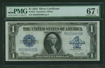 1923 $1 Silver Certificate Banknote Fr-237 Certified Pcgs Gem Uncirculated-67Ppq
