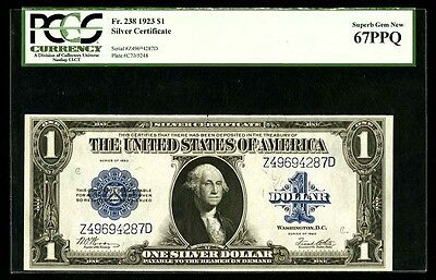 1923 $1 Silver Certificate Banknote Fr-238 Certified Pcgs Gem Uncirculated-67Ppq