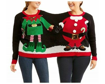 a148bc57e6 Holiday Time Black Elf Santa Double Person Christmas Sweater L XL NWT Not  Ugly