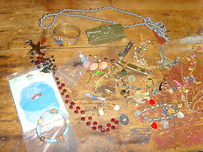 Crafters upcycle vintage trinkets chic treasures assorted art lot JEWELRY pieces