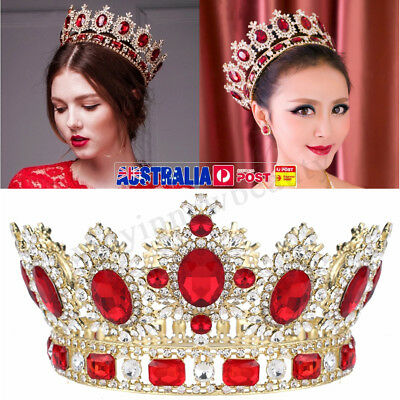 """6.7"""" Wide Large Ruby Red Crystal Tiara Gold King Crown Wedding Prom Party Decor"""