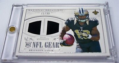 2014 Brandin Cooks National Treasures NFL Gear Dual Relic Rookie Card 72/99