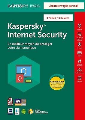 Kaspersky Internet Security 2019 3 Postes Licence envoyée par mail