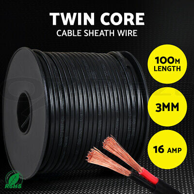 【20%OFF】 3MM Electrical Cable Electric Twin Core Extension Wire 100M Car 450V