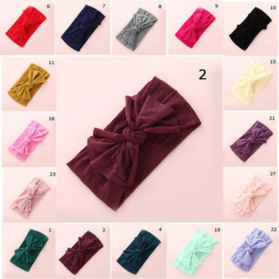 Baby Girls Kids Toddler Bow Hairband Headband Stretch Turban Knot Head Wrap NEW
