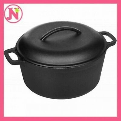 Cast Iron Dutch Oven with Dual Handle Pre-Seasoned Pot Lid Kitchen Cookware 7 qt