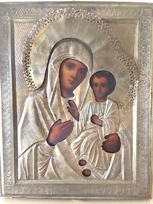 Antique 19th Century Orthodox Madonna Russian Hand Painted Icon Oil Tempera