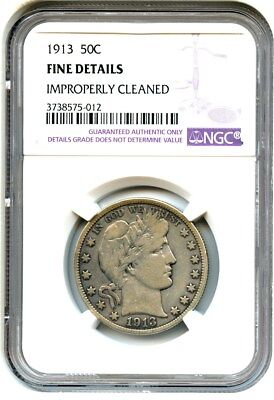 1913 50c NGC Fine Details (Improperly Cleaned) Scarce Date - Barber Half Dollar