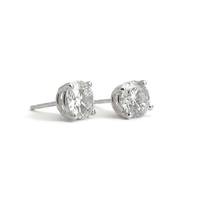 Round Diamond Stud Earrings 14K White Gold 4-Prong Basket Push Backs, 1.45 CTW