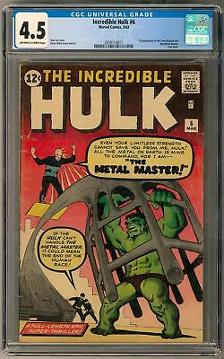 Incredible Hulk #6 CGC 4.5 (OW-W) Ditko Cover 1st Metal Master Appearance