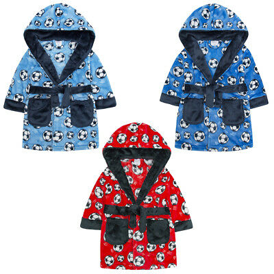 MiniKidz Boys Supersoft Fleece Football Dressing Gown