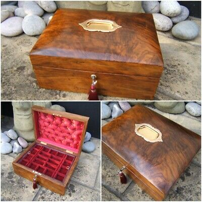 Wonderful 19C Antique Victorian Figured Walnut Jewellery Box - Fab Interior