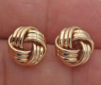 18K Yellow Gold Filled Ear Stud Hollow Hydrangea Knot Earrings Jewelry Gift SW