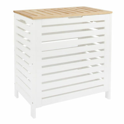 White/Oak Wooden Laundry Clothes Basket Hamper Bin Storage Lid Bathroom Bedroom