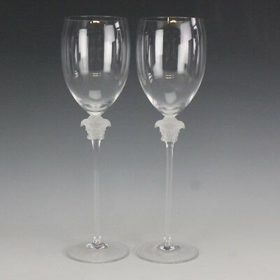 4895aa28d11 Pair Versace Rosenthal Medusa Lumiere Crystal Water Goblets Wine Glasses NR  DMK