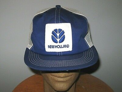 d5bb070f2b6 Vintage New Holland Farm Mesh SnapBack Patch Trucker Hat Cap K-BRAND Made  USA
