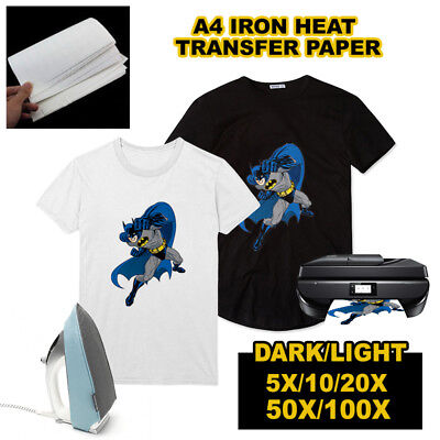 5/10/20/50/100 sheets A4 Iron Heat Transfer Paper For Dark/Light Cotton T-shirt