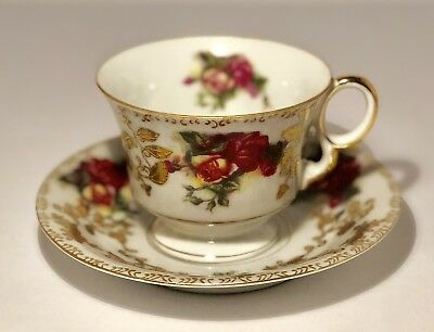 Vintage Tea Cup and Saucer Royal Sealy China Japan Roses Gold Trim