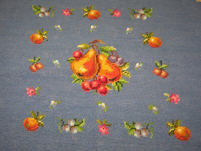 Beautiful Antique Vintage Needlepoint Tapestry FRUIT-Completed-Chair Bench