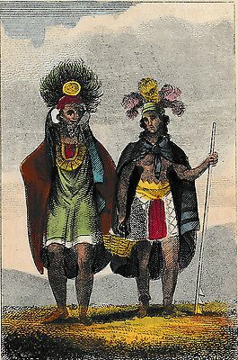 "c1820 Antique H/C Engraving - ""Man & Woman of St. Christian""- Marquesas Islands"
