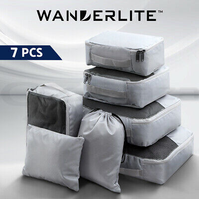 Wanderlite 7PCS Luggage Organiser Suitcase Sets Travel Packing Cubes Pouch Bag