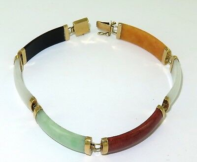 .a 14K Gold & 6 Multi-Coloured Jade Links Bracelet With Chinese Character Clasp.