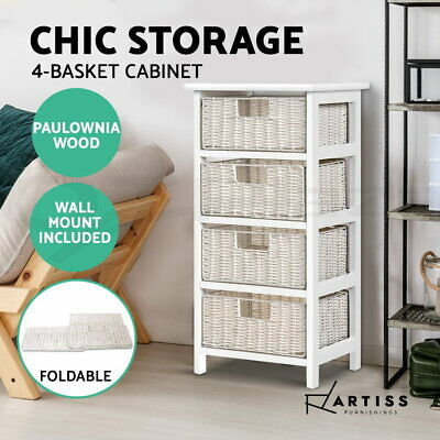 Artiss Storage Cabinet Bedside Table Chest of 4 Foldable Drawers Nightstand
