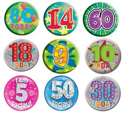 Pin Badge - Birthday Party All Milestone Ages Male Female Boy Girl Pink Blue