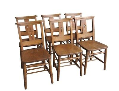 Set of 6 Church / Chapel Chairs With Bible Backs - Reclaimed Old Seats