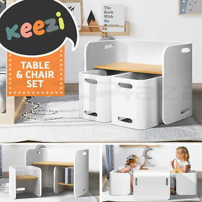 Artiss 3PC Kids Table and Chairs Set Toys Play Desk Children Shelf Storage White