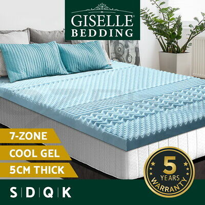 Giselle Memory Foam Mattress Topper COOL GEL Bed BAMBOO Cover 5CM 7-Zone