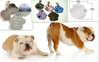 Personalised ENGRAVING Dog ID / Cat ID Name Bling Tag Puppy Pet ID Tags UK MADE