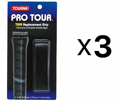 Tourna Tennis Racquet Replacement Grip Pro Tour Grip 1.5 mm-Black (3-Pack)