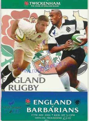 England v Barbarians 27 May 2001 Twickenham RUGBY PROGRAMME